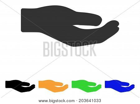 Share Hand icon. Vector illustration style is a flat iconic share hand symbol with black, grey, green, blue, yellow color versions. Designed for web and software interfaces.