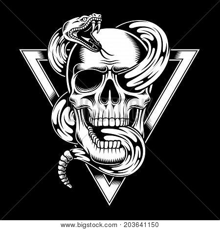 Vector Illustration of Skull with Snake Tattoo