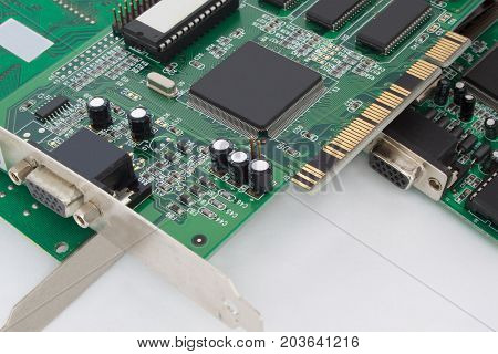 Graphic cards for personal computer. Isolated on the white background.