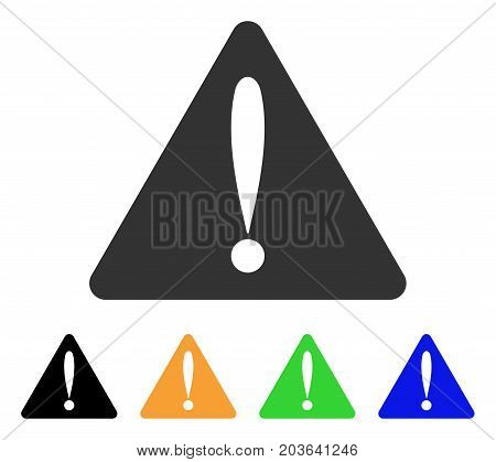 Warning Error icon. Vector illustration style is a flat iconic warning error symbol with black, gray, green, blue, yellow color versions. Designed for web and software interfaces.