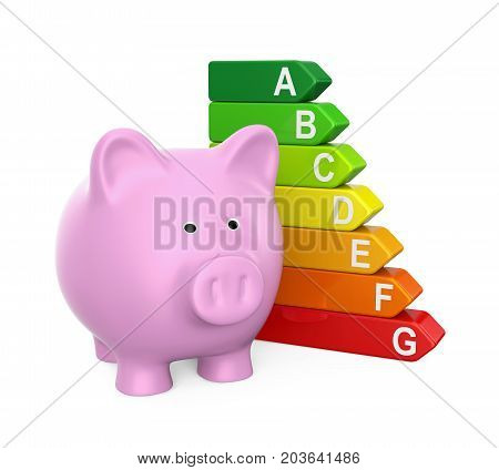 Piggy Bank with Energy Efficiency Chart isolated on white background. 3D render