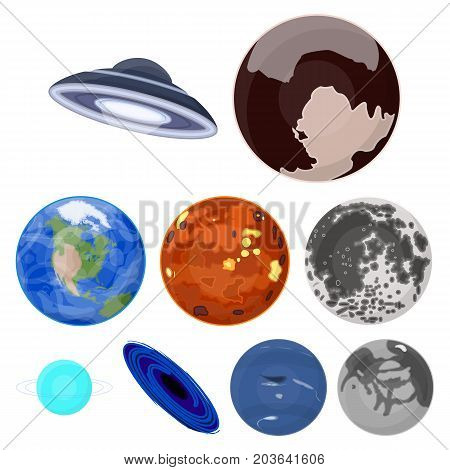Planets of the solar system. Cosmic objects. Planets icon in set collection on cartoon style vector symbol stock web illustration.