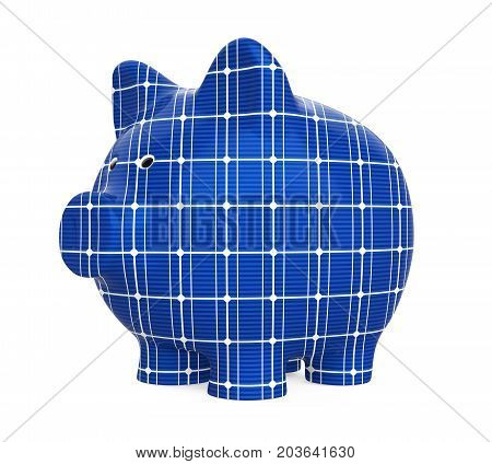Piggy Bank Solar Panel isolated on white background. 3D render