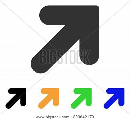 Arrow Up Right icon. Vector illustration style is a flat iconic arrow up right symbol with black, gray, green, blue, yellow color variants. Designed for web and software interfaces.