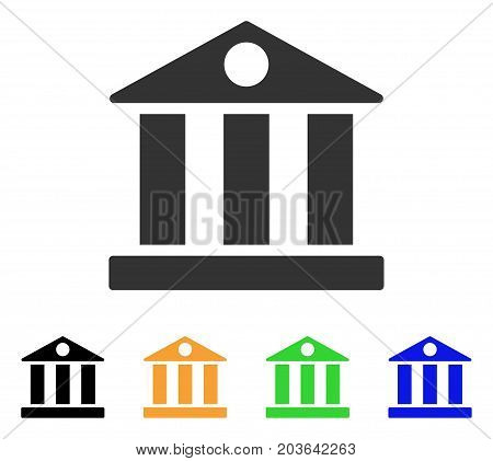 Bank Building icon. Vector illustration style is a flat iconic bank building symbol with black, gray, green, blue, yellow color versions. Designed for web and software interfaces.