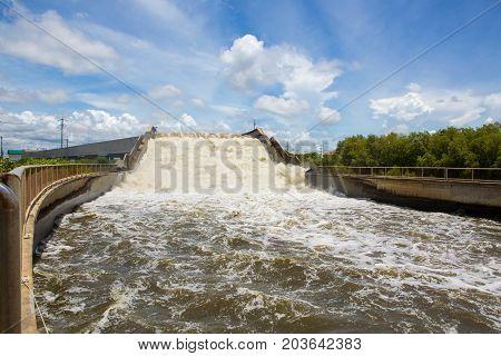 Water passes through bridges to prevent flooding.