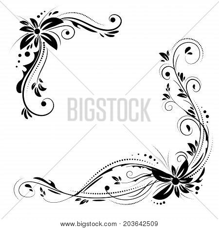 Floral corner design. Ornament black flowers on white background - vector stock. Decorative border with flowery elements, pattern. Wedding card with flourish swirl and circles.