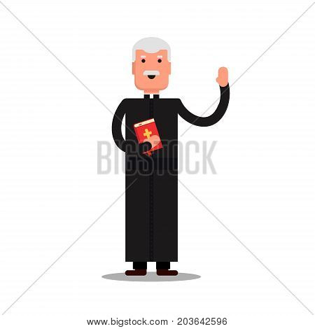 Pastor character standing with bible isolated on white background. Preacher man flat style - Vector stock illustration.