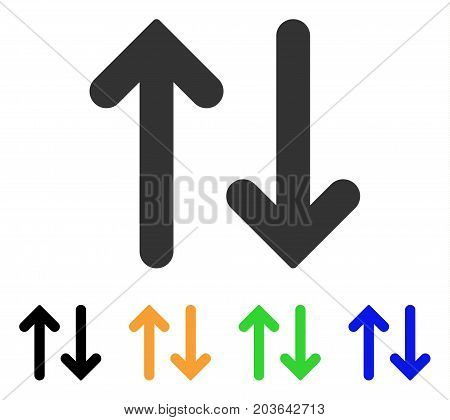 Flip Vertical icon. Vector illustration style is a flat iconic flip vertical symbol with black, gray, green, blue, yellow color versions. Designed for web and software interfaces.