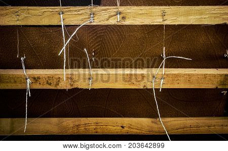 Grunge background. Wood and fabric. Old furniture