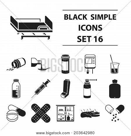 Medicine and hospital set icons in black style. Big collection medicine and hospital vector symbol stock