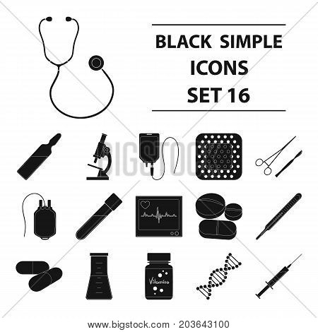 Donor, plaster, vaccine and other medical, medicine equipment. Medical, medicine set collection icons in black style vector symbol stock illustration.