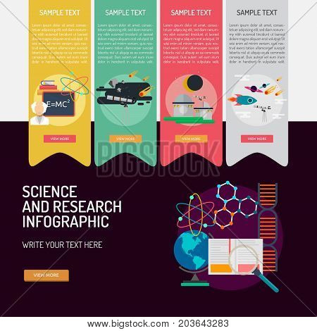 Infographic Science and Research | Set of great infographic flat design illustration concepts for science, research, education and much more.