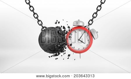 3d rendering of a large alarm clock swings on a metal chain and collides with a crumbling wrecking ball. Time is money. Expensive downtime. Tight schedule.