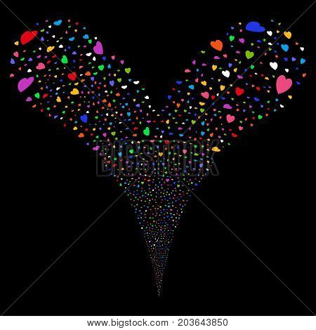 Valentine Petals salute stream. Vector illustration style is flat bright multicolored iconic valentine petals symbols on a black background. Object fountain created from random icons.