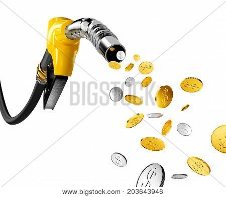 Coins with dollar sign pump out from gasoline pump - 3D Rendering
