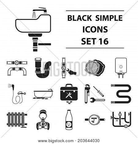Plumbing set icons in black style. Big collection plumbing vector symbol stock