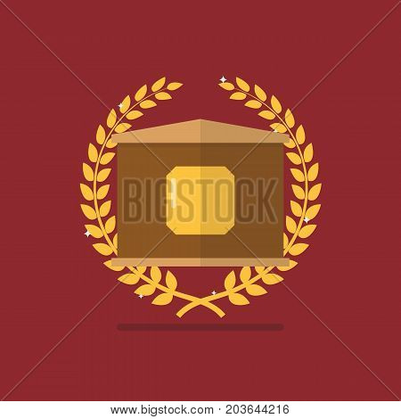 Golden badge with laurel wreath. Symbol of victory and achievement
