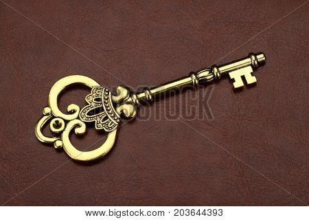 Vintage / Retro Golden Key on brown leather background