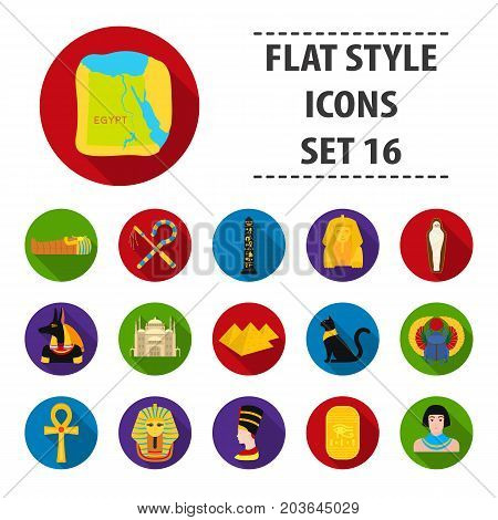 Ancient Egypt set icons in flat design. Big collection of ancient Egypt vector symbol stock illustration