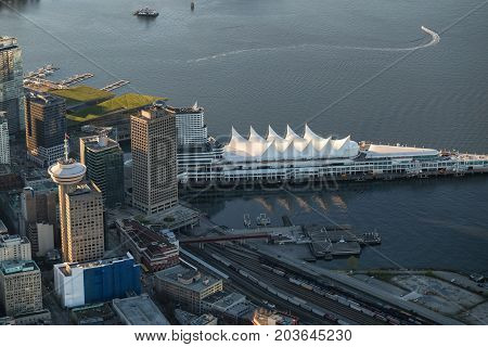 Vancouver Downtown British Columbia Canada - April 24 2017 - Aerial view on Canada Place Coal Harbour and Vancouver Convention Centre.