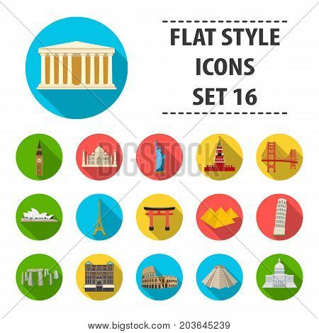 Countries set icons in flat design. Big collection of countries vector symbol stock illustration