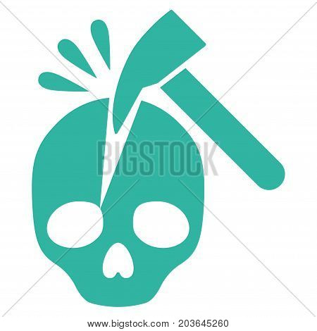 Break Skull vector icon. Flat cyan symbol. Pictogram is isolated on a white background. Designed for web and software interfaces.