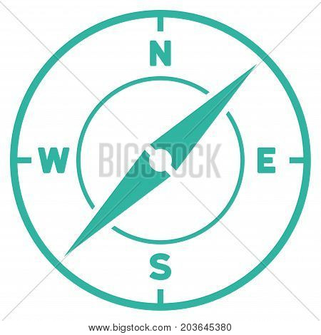 Compass vector icon. Flat cyan symbol. Pictogram is isolated on a white background. Designed for web and software interfaces.