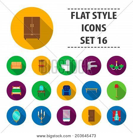 Furniture set icons in flat style. Big collection furniture vector symbol stock
