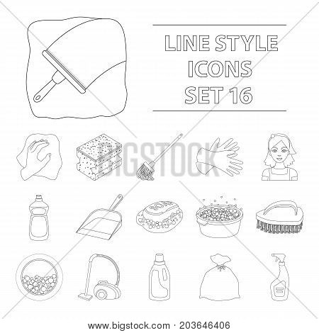 Cleaning set icons in outline design. Big collection of cleaning vector symbol stock illustration