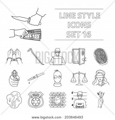 Crime set icons in outline style. Big collection of crime vector symbol stock