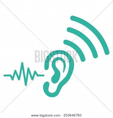 Listen And Transmit vector icon. Flat cyan symbol. Pictogram is isolated on a white background. Designed for web and software interfaces.