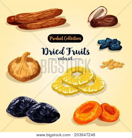Dried fruit and candied berry. Raisins, apricot, date, prune, fig, pineapple and banana for healthy vegetarian snack food, natural sun dried sweets label design