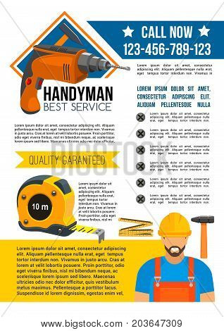 Handyman and house repair service design. Repairman in uniform and helmet with hammer, drill and tape measure poster for home renovation and construction industry themes design