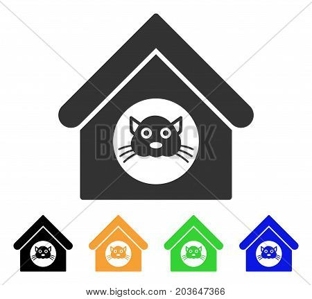 Cat House icon. Vector illustration style is a flat iconic cat house symbol with black, gray, green, blue, yellow color versions. Designed for web and software interfaces.
