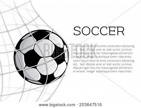 Soccer ball in the net of football gate on white background. Goal ball symbol for sport game banner, sporting equipment and soccer competition themes design