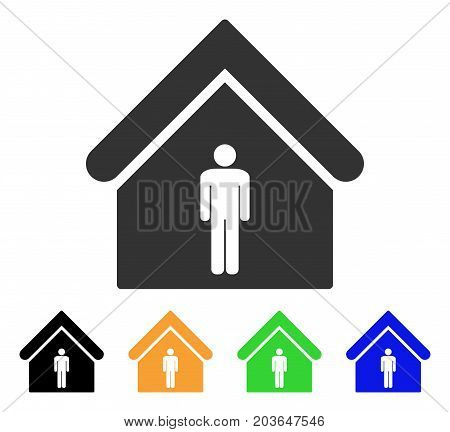 Man Toilet Building icon. Vector illustration style is a flat iconic man toilet building symbol with black, gray, green, blue, yellow color variants. Designed for web and software interfaces.