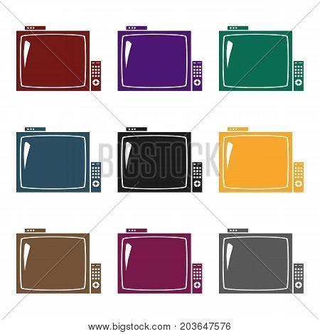 Pub television icon in black design isolated on white background. Pub symbol stock vector illustration.