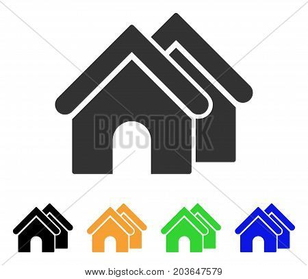 Real Estate icon. Vector illustration style is a flat iconic real estate symbol with black, grey, green, blue, yellow color versions. Designed for web and software interfaces.