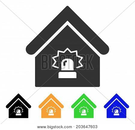 Realty Alarm icon. Vector illustration style is a flat iconic realty alarm symbol with black, grey, green, blue, yellow color variants. Designed for web and software interfaces.