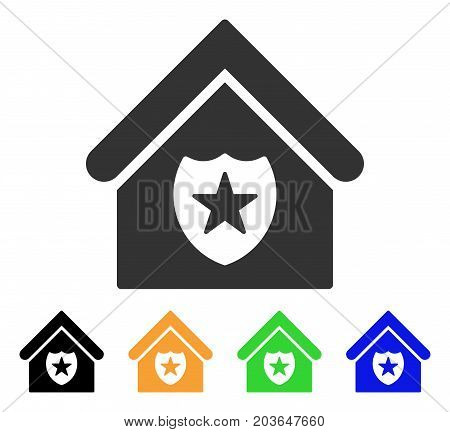 Realty Protection icon. Vector illustration style is a flat iconic realty protection symbol with black, grey, green, blue, yellow color variants. Designed for web and software interfaces.