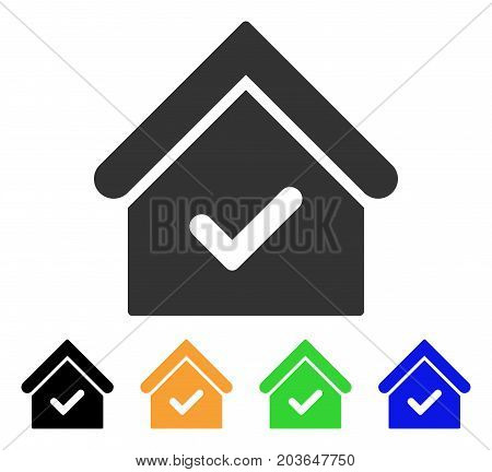Valid House icon. Vector illustration style is a flat iconic valid house symbol with black, gray, green, blue, yellow color variants. Designed for web and software interfaces.