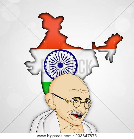 illustration of Gandhi and India Map in India flag background on the occasion of Indian national event Gandhi Jayanti