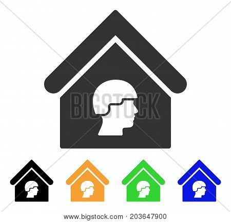 Barrack Building icon. Vector illustration style is a flat iconic barrack building symbol with black, grey, green, blue, yellow color versions. Designed for web and software interfaces.
