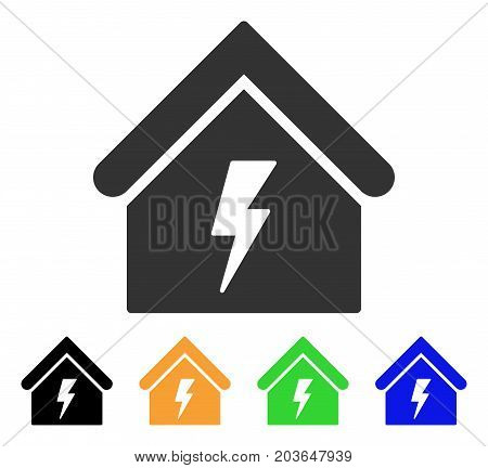 Building Electricity icon. Vector illustration style is a flat iconic building electricity symbol with black, grey, green, blue, yellow color versions. Designed for web and software interfaces.
