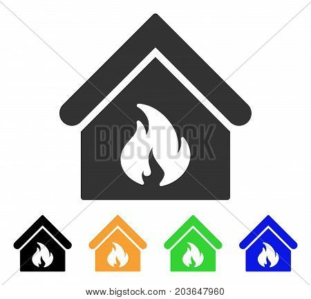 Building Fire icon. Vector illustration style is a flat iconic building fire symbol with black, gray, green, blue, yellow color variants. Designed for web and software interfaces.