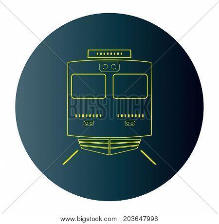 Icon Of Front View Locomotive Train  In Blue Dark