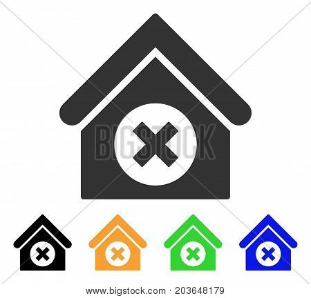 Delete Building icon. Vector illustration style is a flat iconic delete building symbol with black, grey, green, blue, yellow color variants. Designed for web and software interfaces.