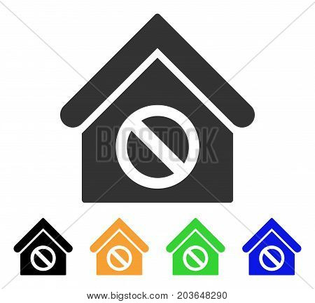 Forbidden Building icon. Vector illustration style is a flat iconic forbidden building symbol with black, gray, green, blue, yellow color variants. Designed for web and software interfaces.