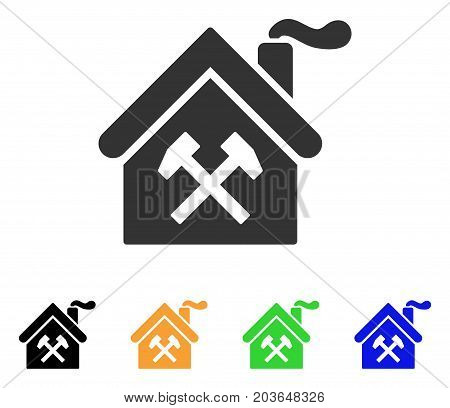 Forge Building icon. Vector illustration style is a flat iconic forge building symbol with black, grey, green, blue, yellow color variants. Designed for web and software interfaces.
